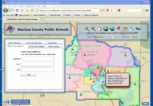School Zone Map for Alachua County FL